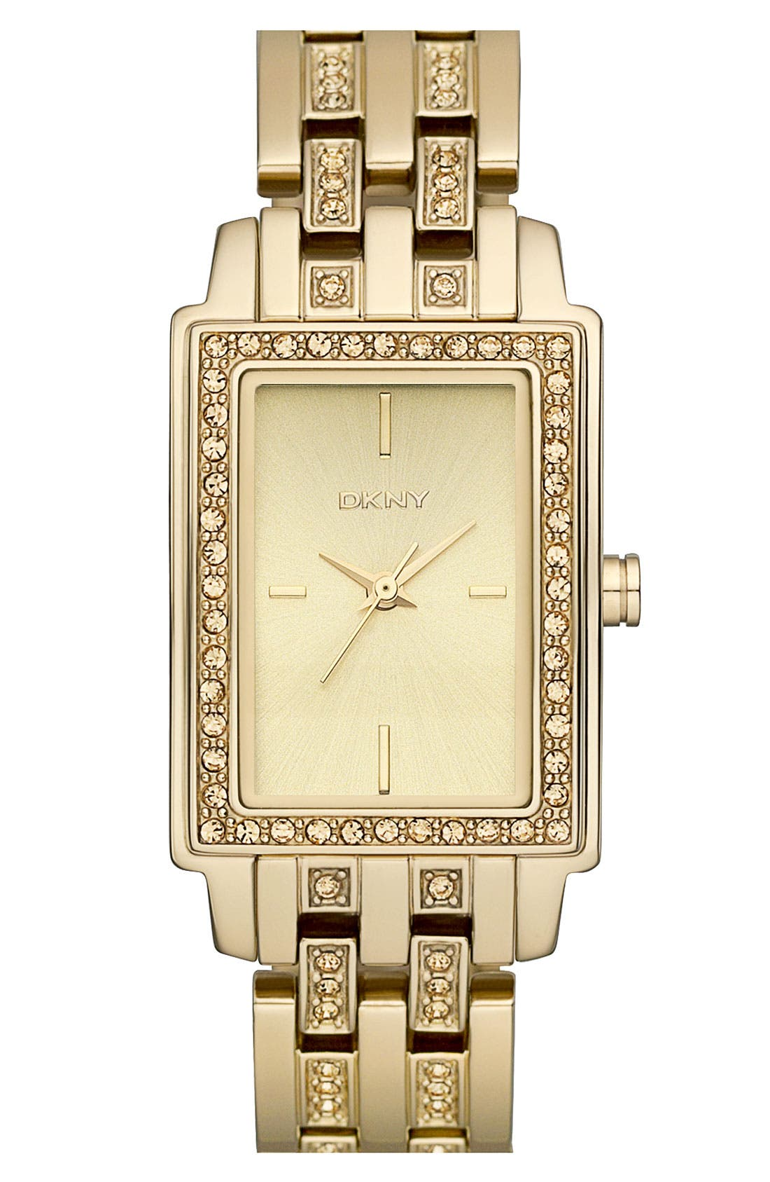 Crystal Detail Rectangular Bracelet Watch, 23mm x 28mm,                         Main,                         color, Gold