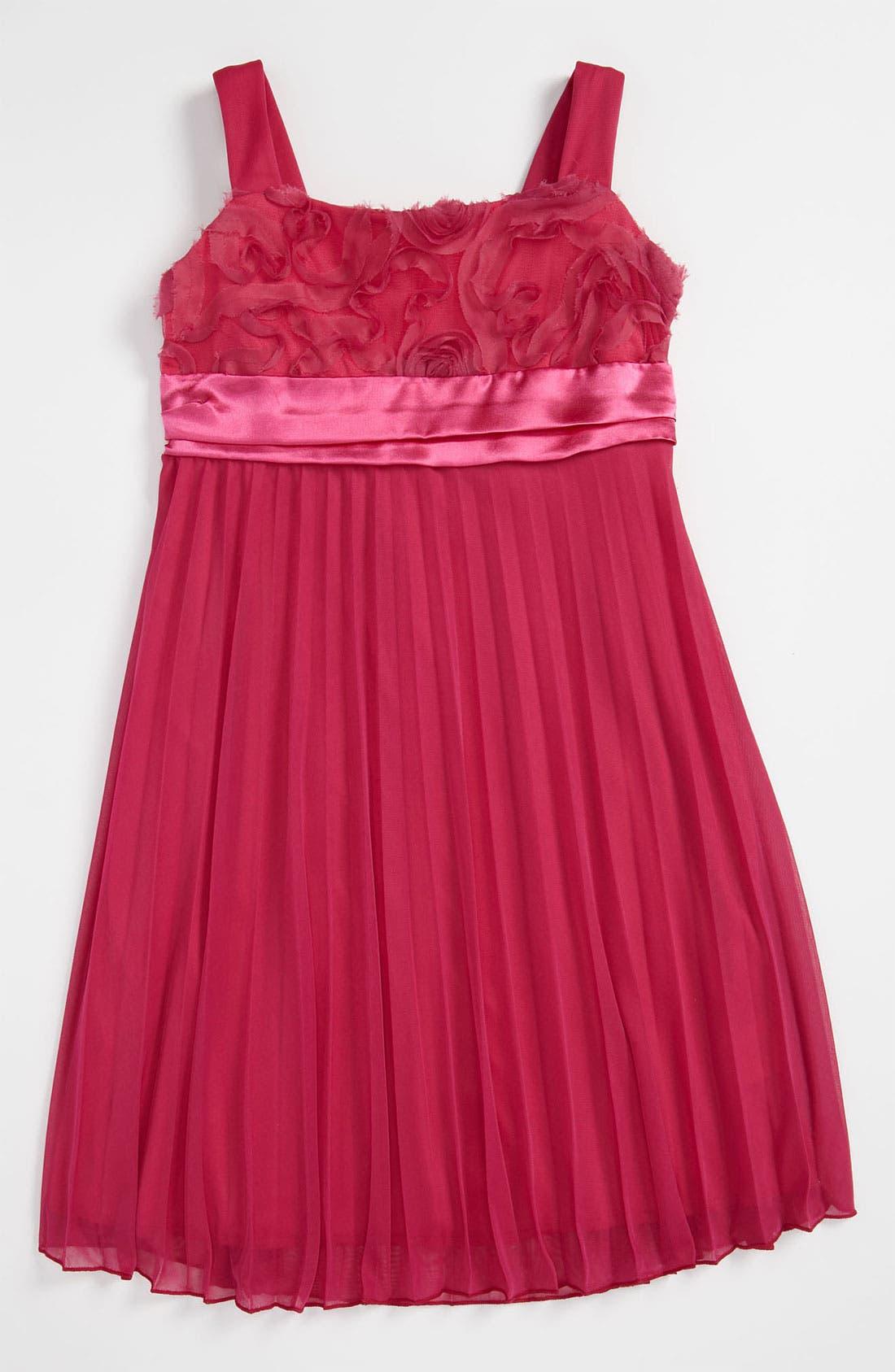 Main Image - Roxette Soutache Pleated Dress (Little Girls & Big Girls)
