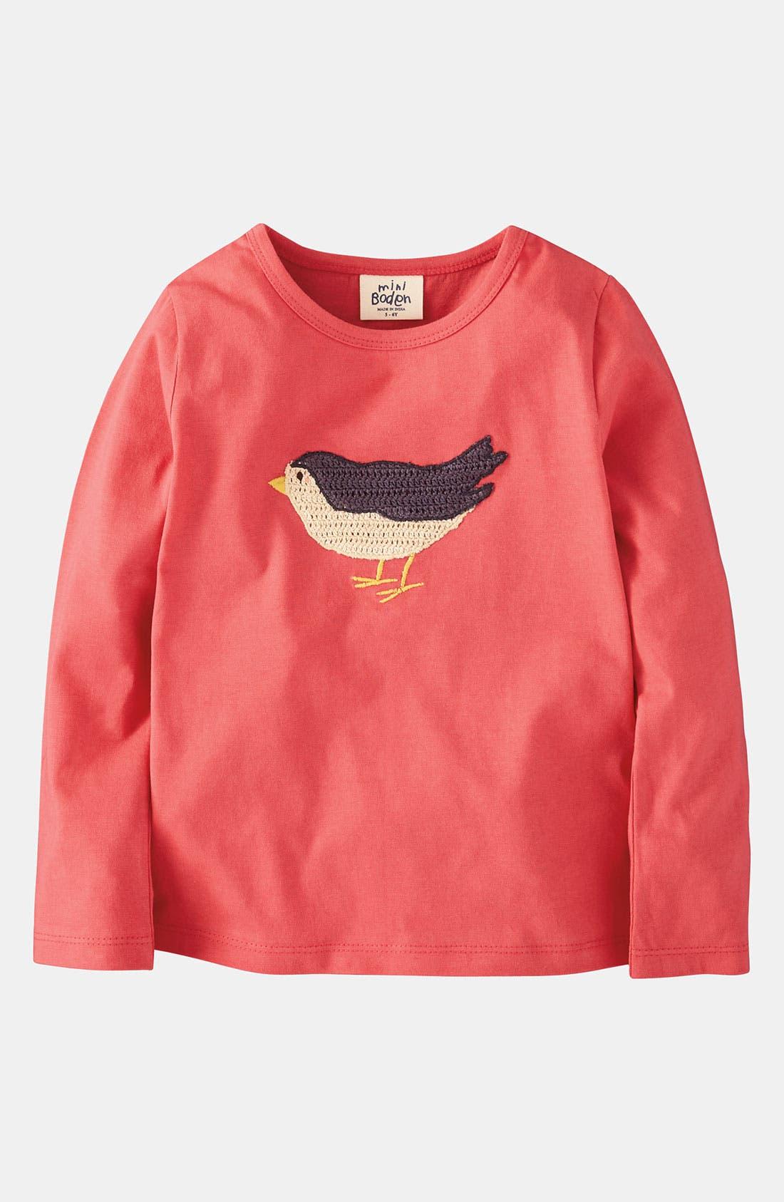 Alternate Image 1 Selected - Mini Boden 'Crochet' Appliqué Tee (Toddler, Little Girls & Big Girls)