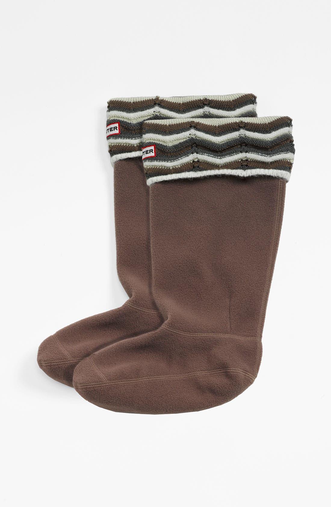 Main Image - Hunter 'Zigzag' Stripe Cuff Welly Socks