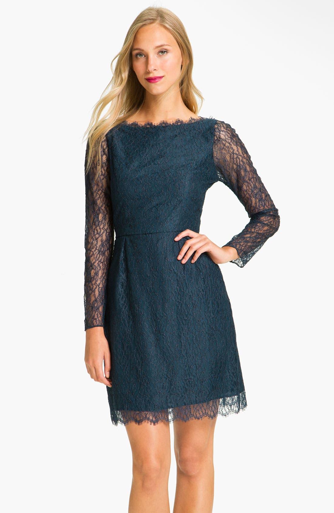 Alternate Image 1 Selected - Shoshanna 'Minka' Long Sleeve Chantilly Lace Dress