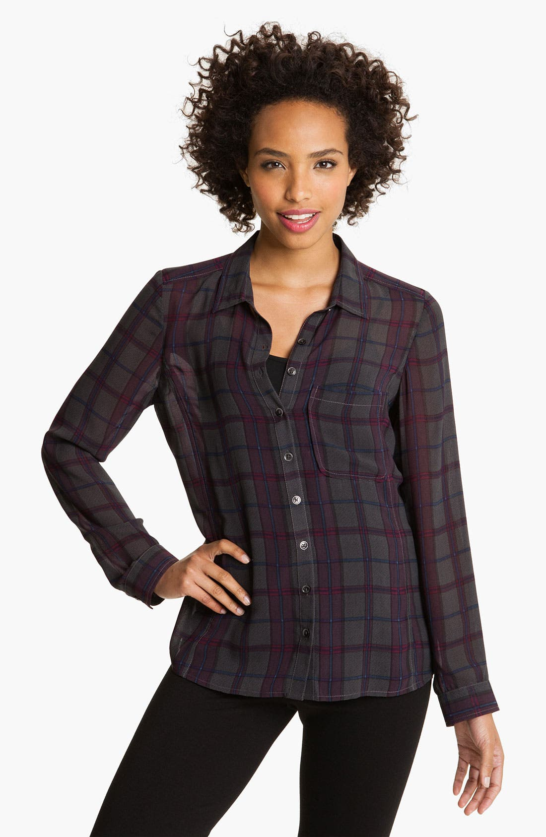 Main Image - Caslon® Plaid Chiffon Shirt