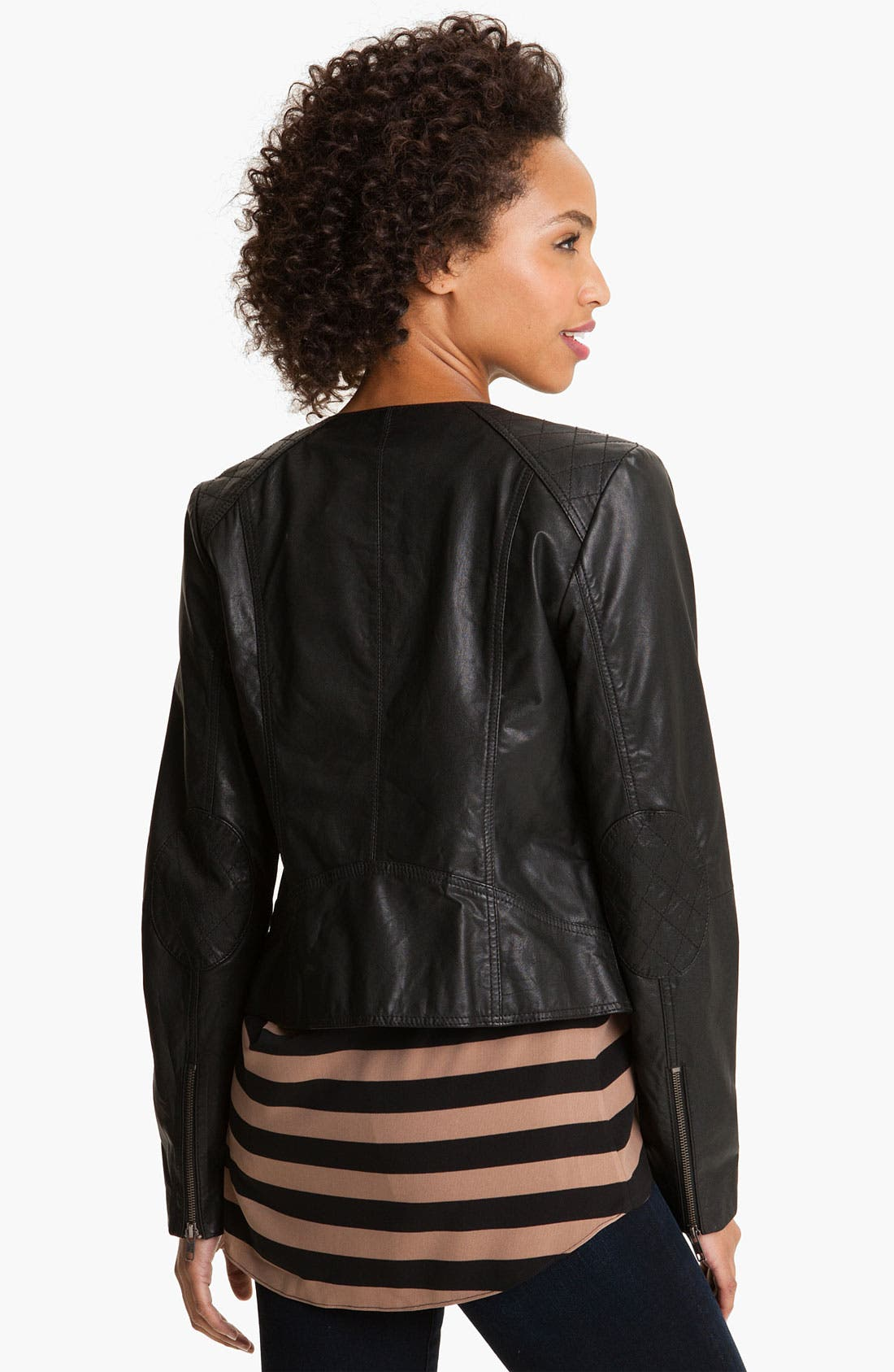 Alternate Image 2  - Caslon® Leather Jacket