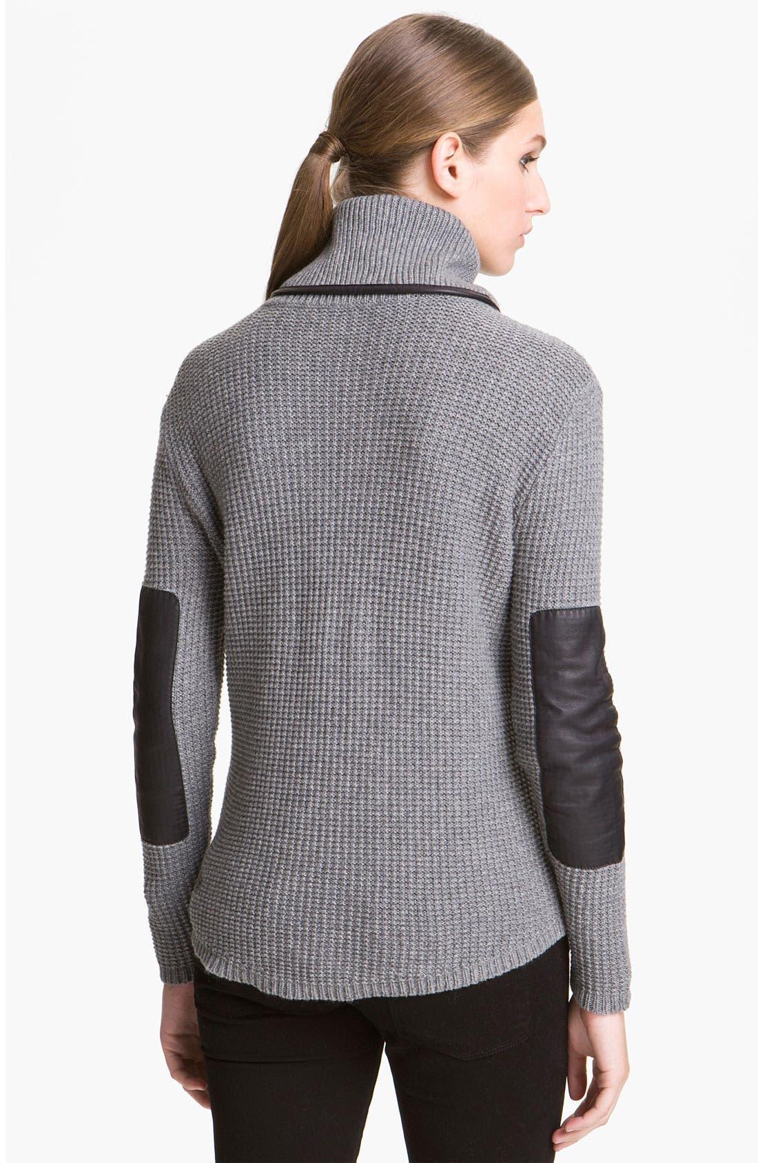 Alternate Image 2  - Elizabeth and James Leather Trim Turtleneck Sweater