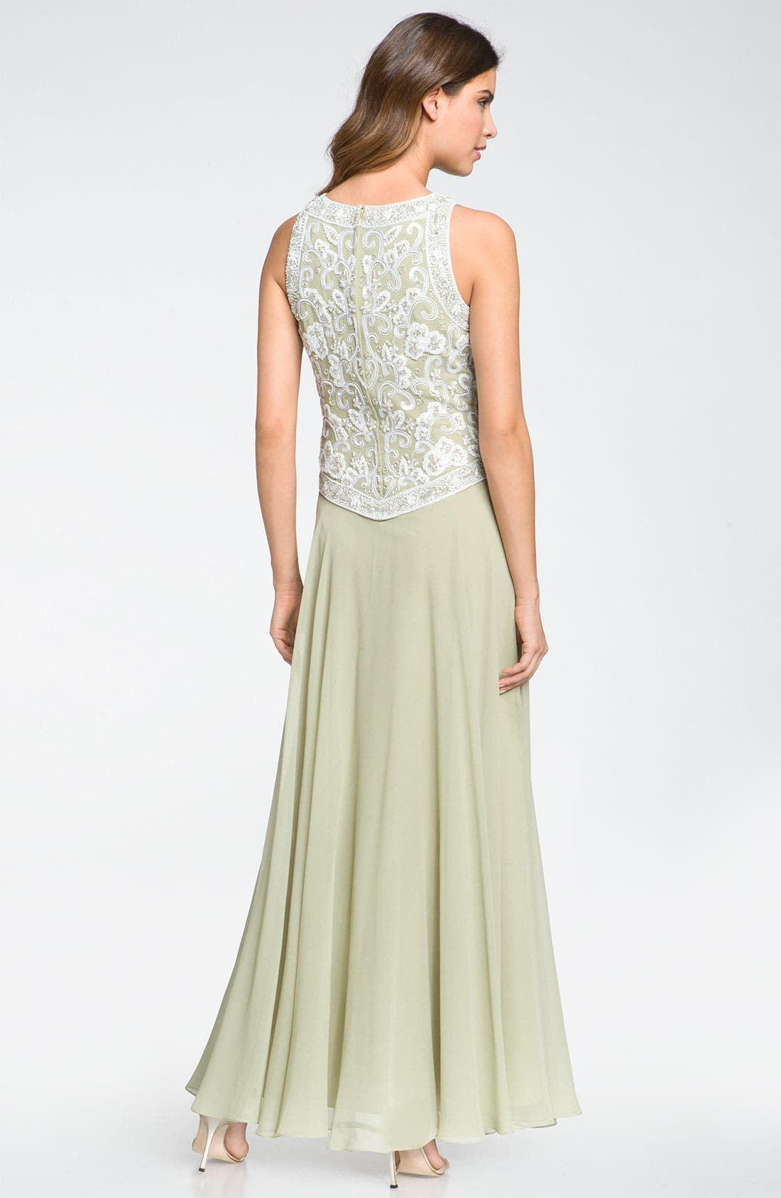 Alternate Image 2  - J Kara Embellished Sleeveless Crepe Gown (Petite)