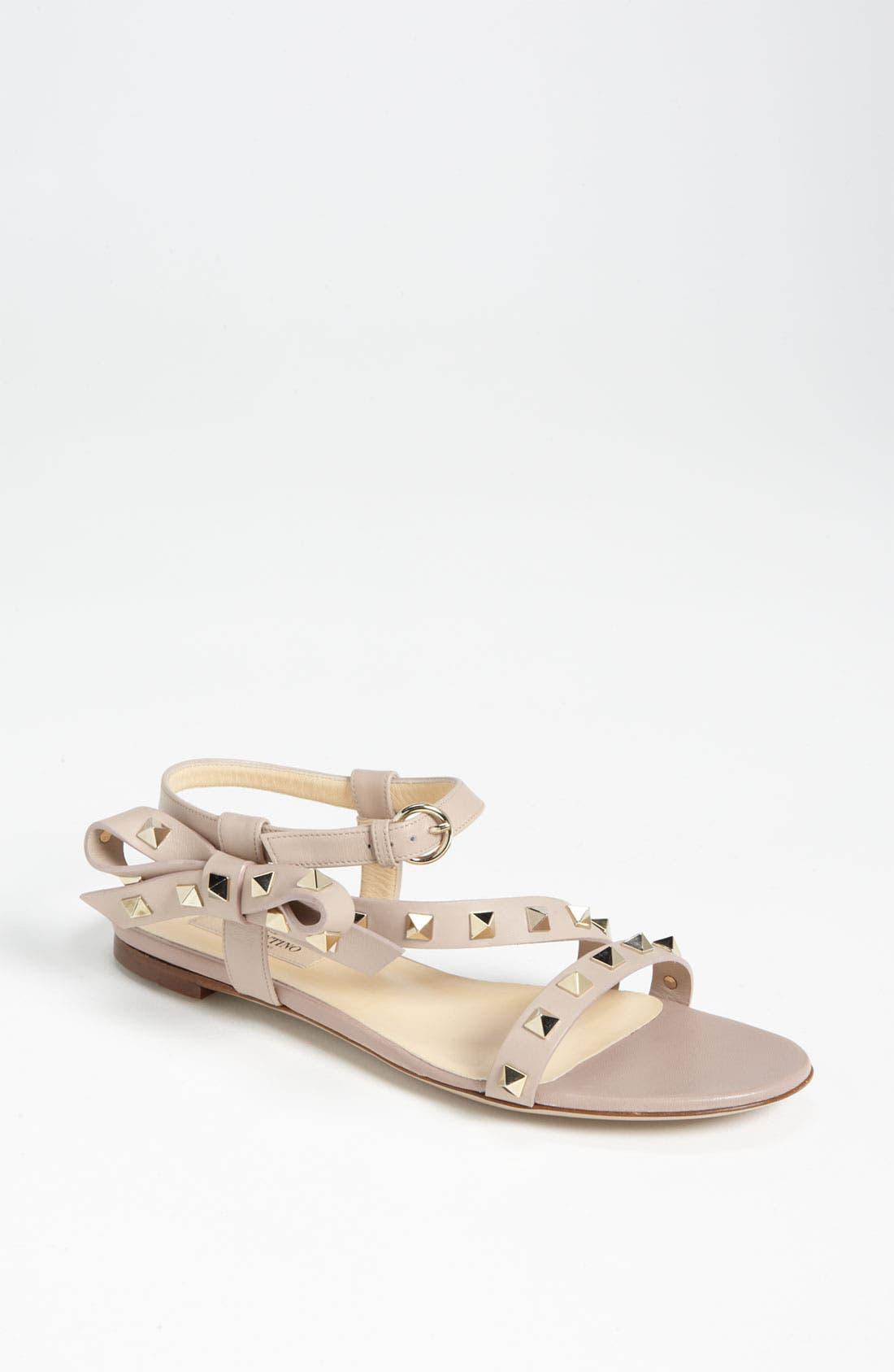 Main Image - VALENTINO GARAVANI 'Rockstud' Bow Flat Sandal
