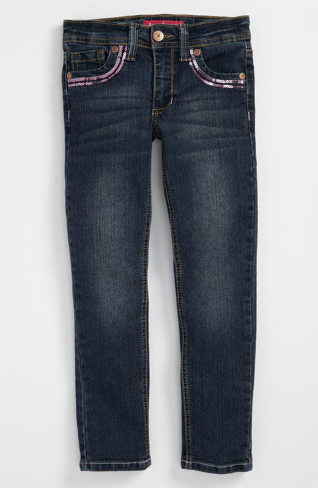 Alternate Image 2  - Freestyle Revolution Sequin Skinny Jeans (Little Girls)