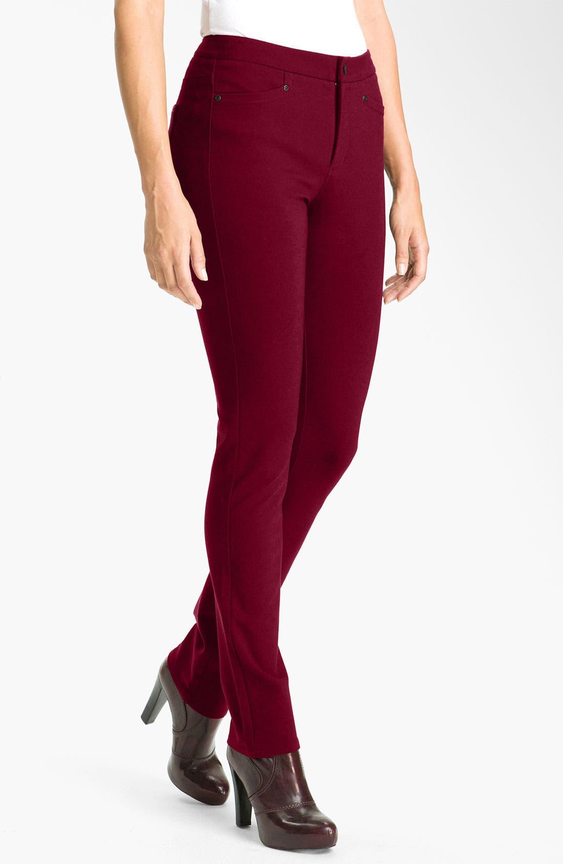 'Samantha' Stretch Ponte Knit Pants,                             Main thumbnail 1, color,                             Plumberry