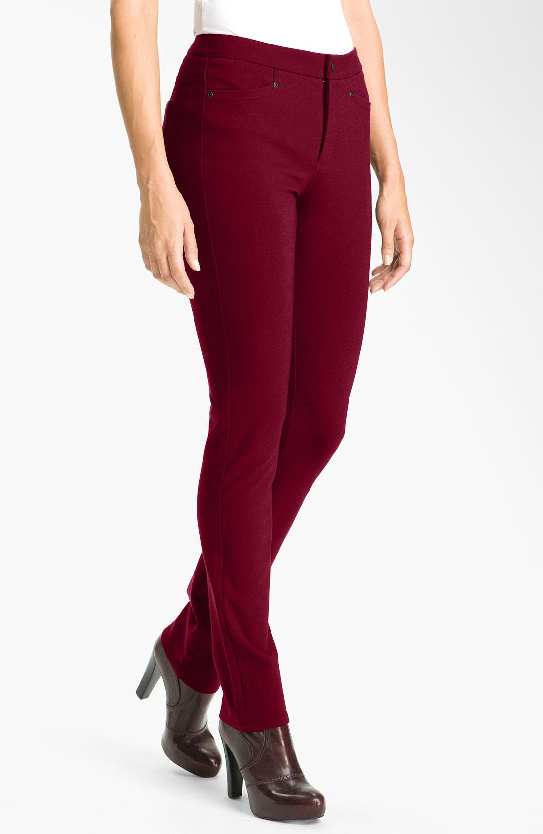 'Samantha' Stretch Ponte Knit Pants,                         Main,                         color, Plumberry