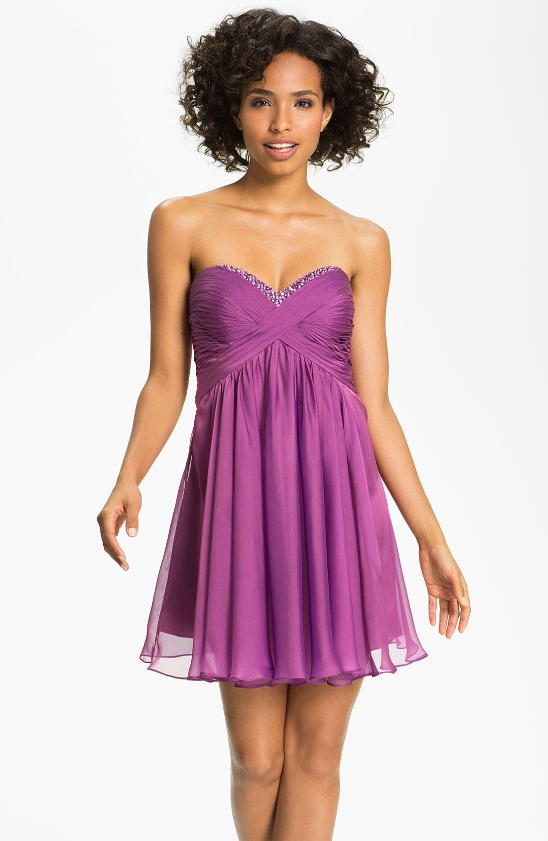 Alternate Image 1 Selected - La Femme Strapless Cutout Back Chiffon Dress