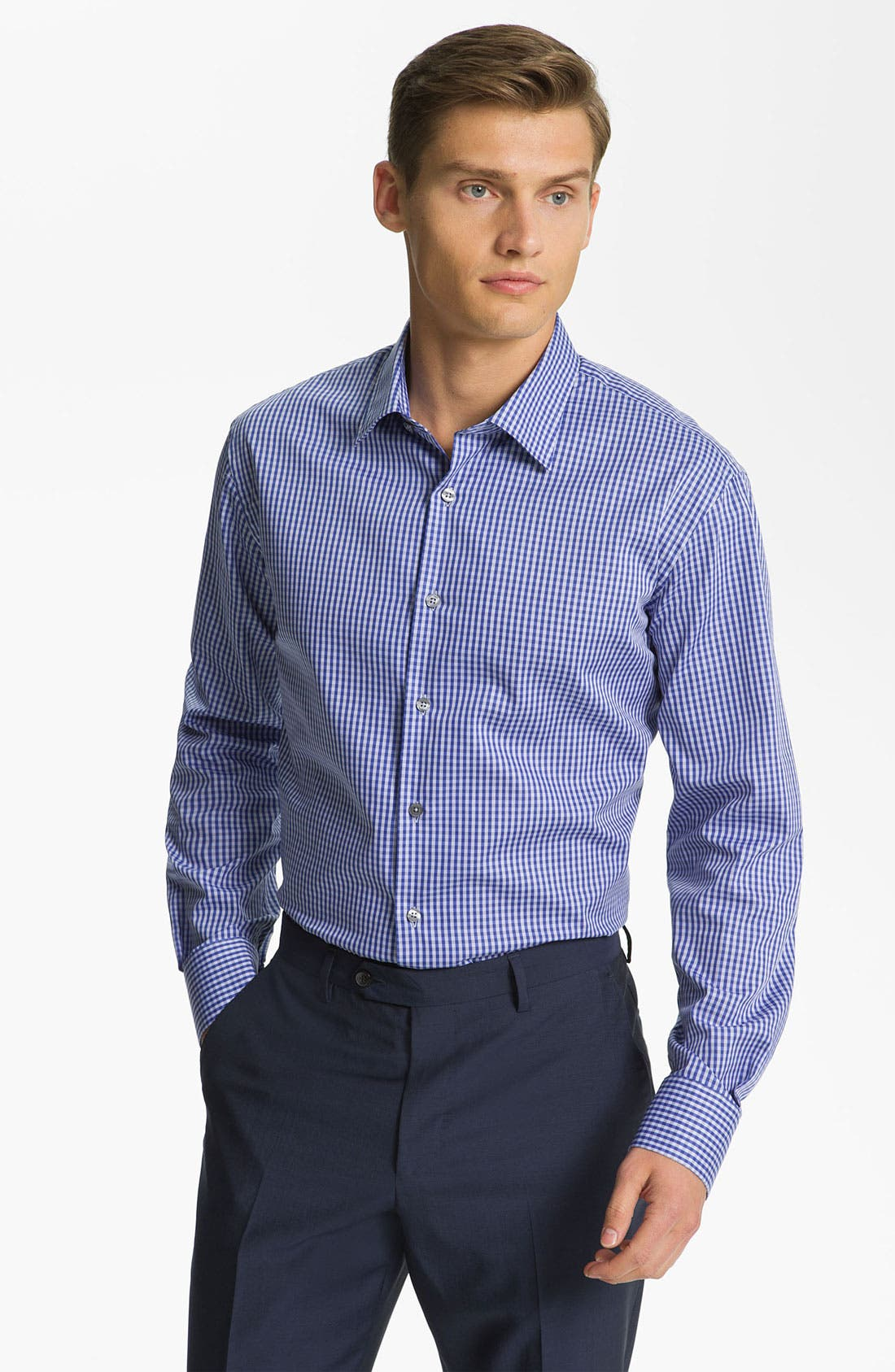 Gingham Check Dress Shirt,                         Main,                         color, Navy
