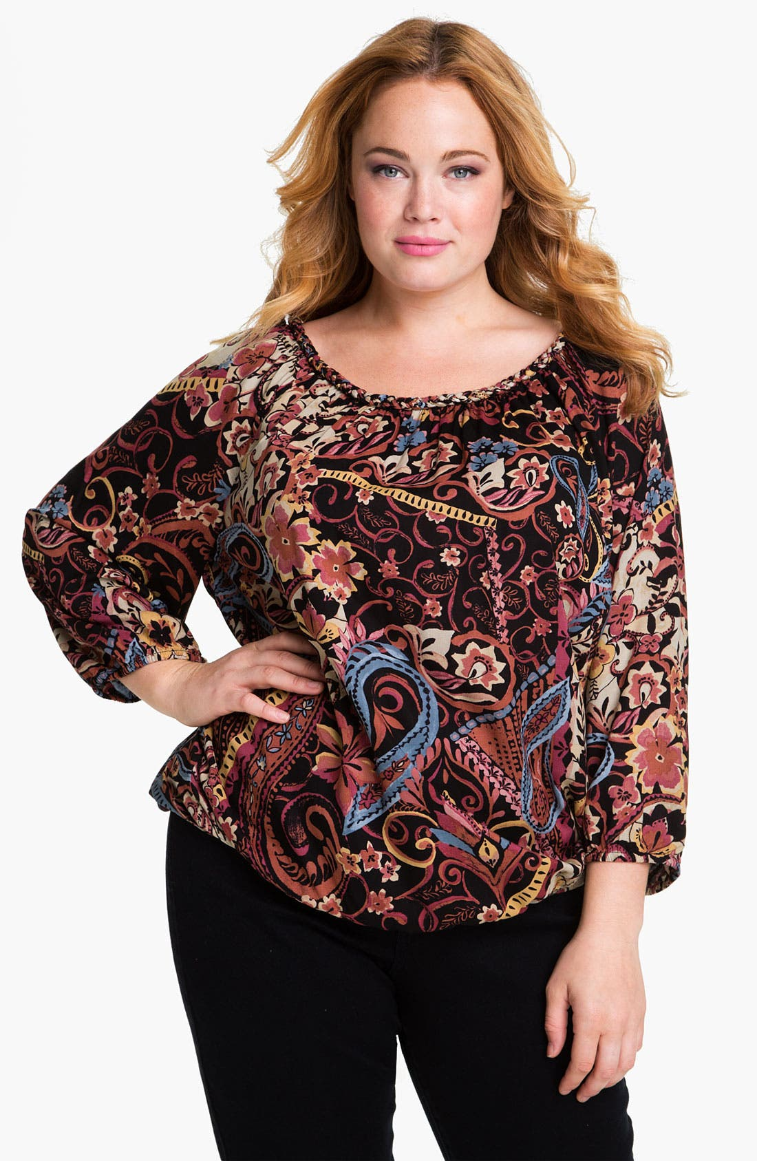 Alternate Image 1 Selected - Lucky Brand 'McGraw Carnival' Top (Plus)