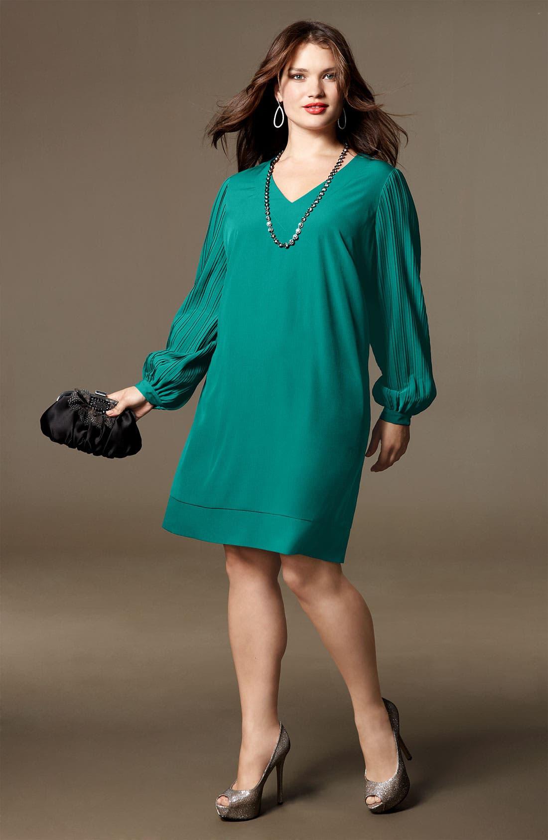 Alternate Image 4  - Donna Ricco Pleat Sleeve Shift Dress (Plus)
