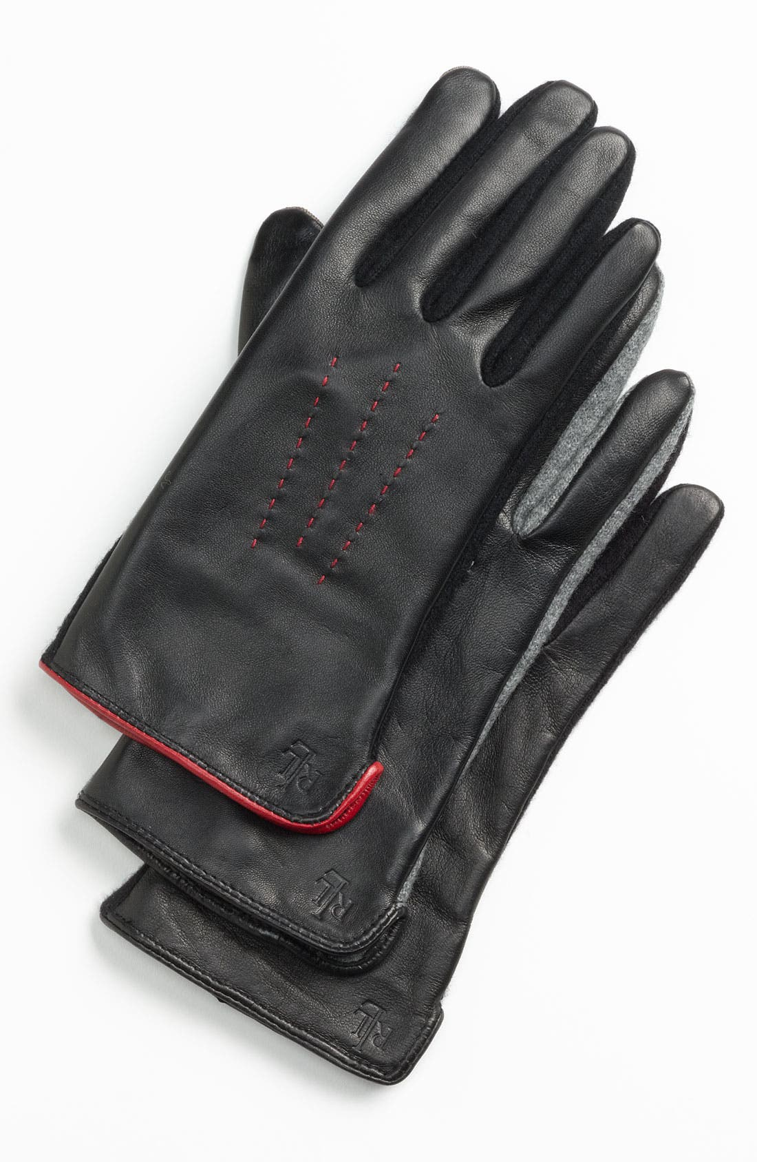 Main Image - Lauren Ralph Lauren 'Cut & Sew' Leather Back Gloves
