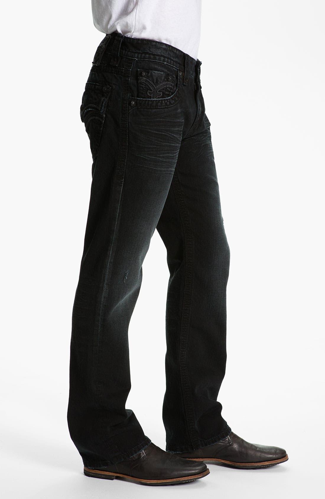 Alternate Image 3  - Rock Revival 'Bob' Straight Leg Jeans (Black)