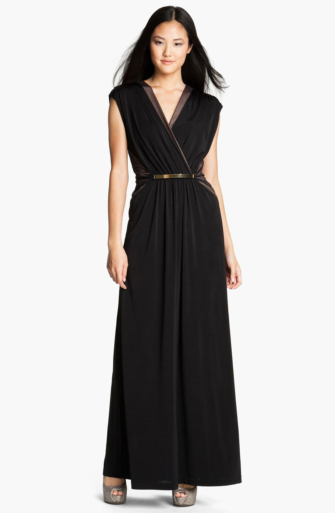 Alternate Image 1 Selected - Max & Cleo 'Chloe' Jersey & Mesh Gown