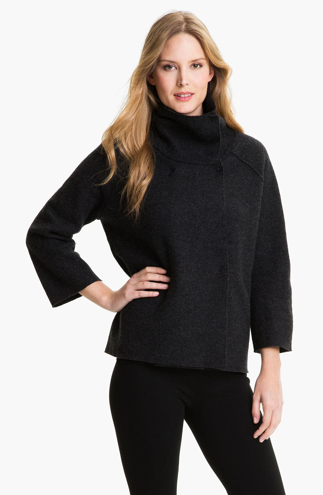 Alternate Image 1 Selected - Eileen Fisher Funnel Neck Boiled Wool Coat