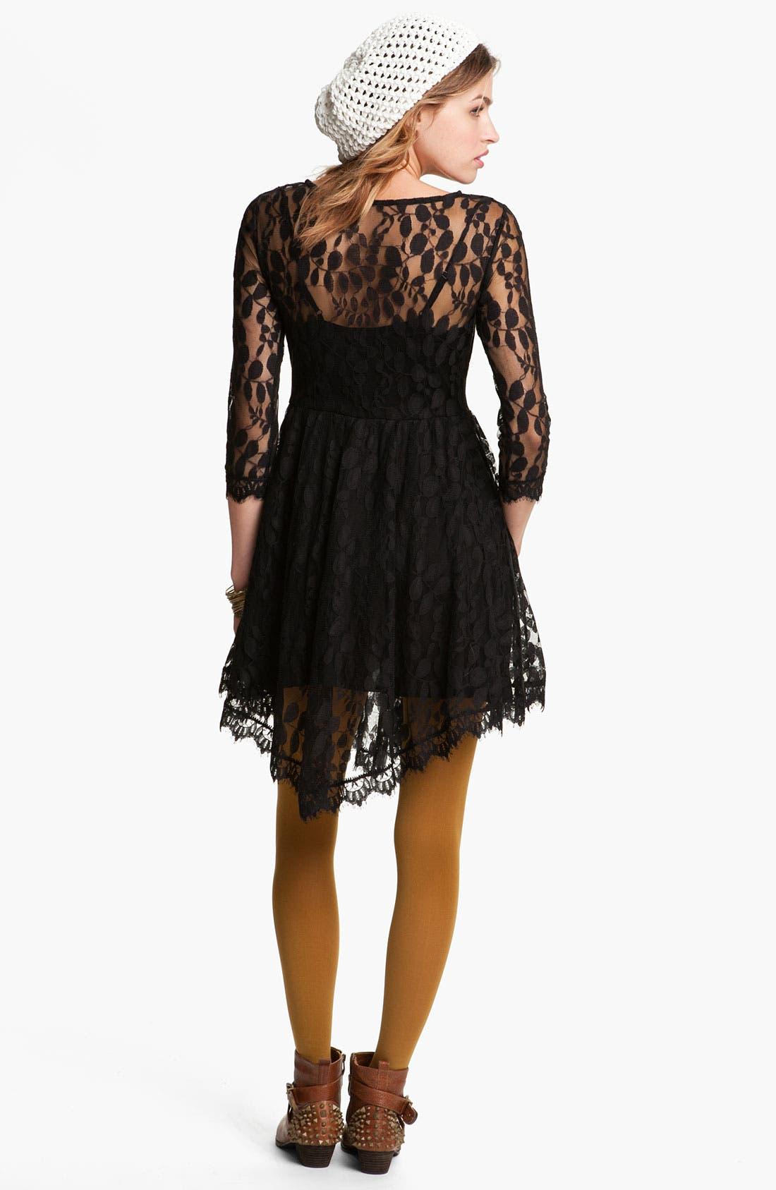 Alternate Image 2  - Free People Handkerchief Hem Lace Dress