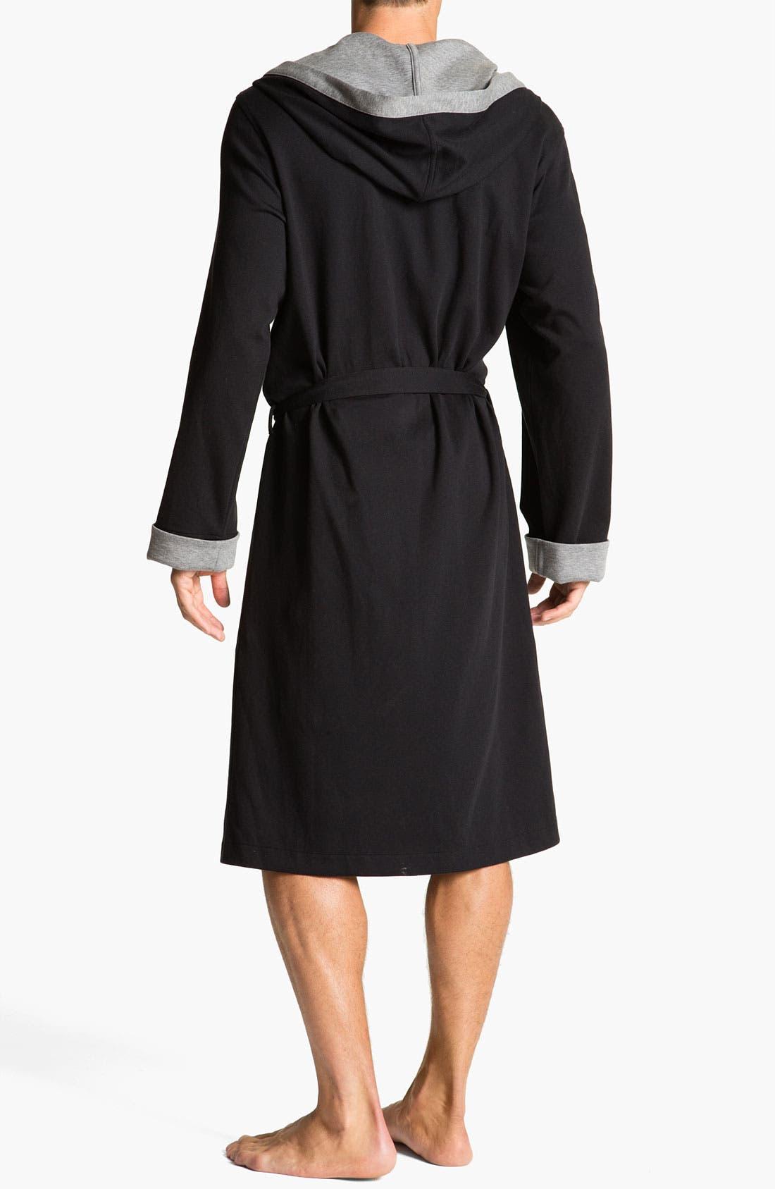 Alternate Image 2  - BOSS Black Hooded Cotton Robe