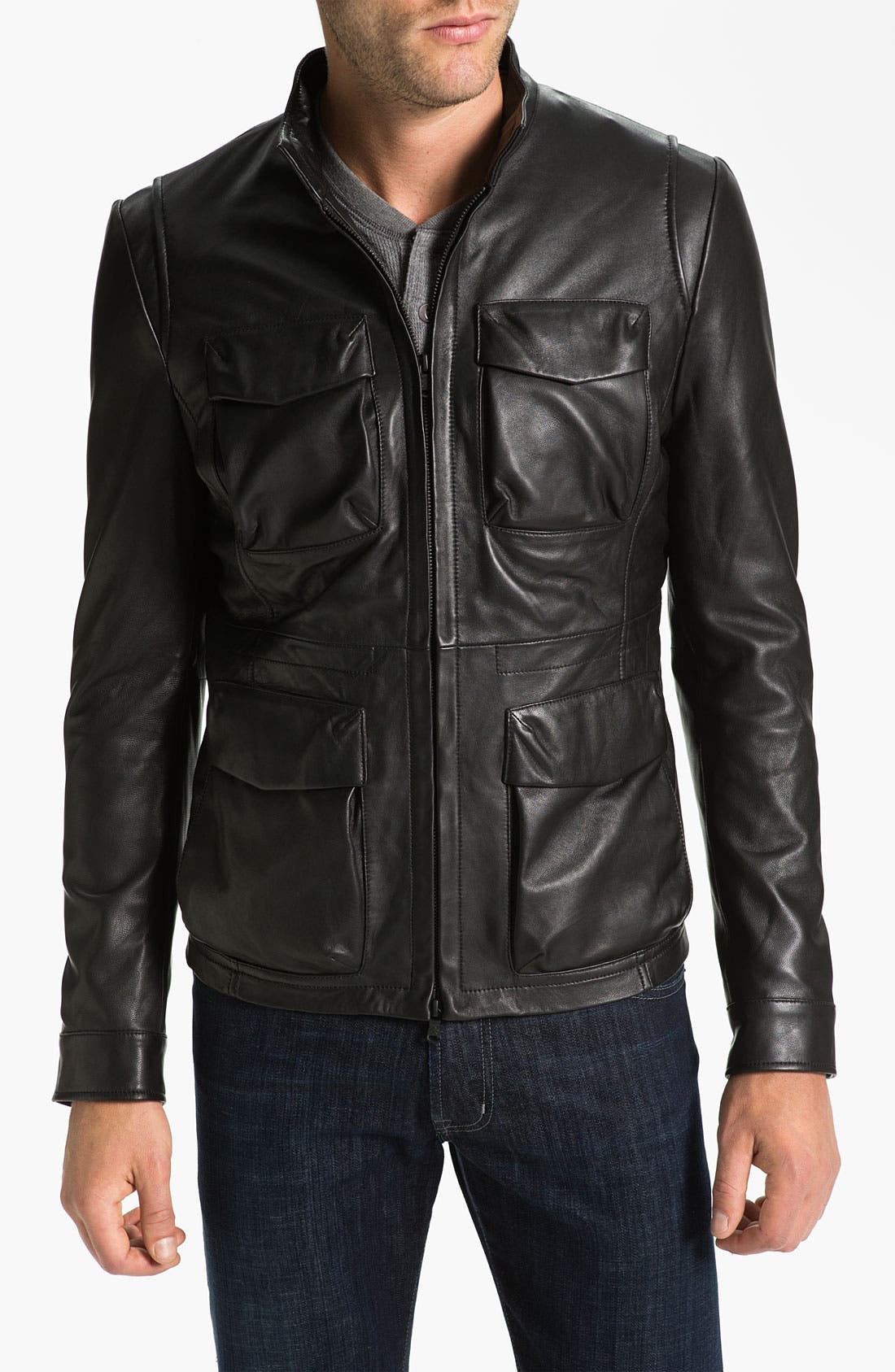 Main Image - Robert Comstock Leather Bomber Jacket