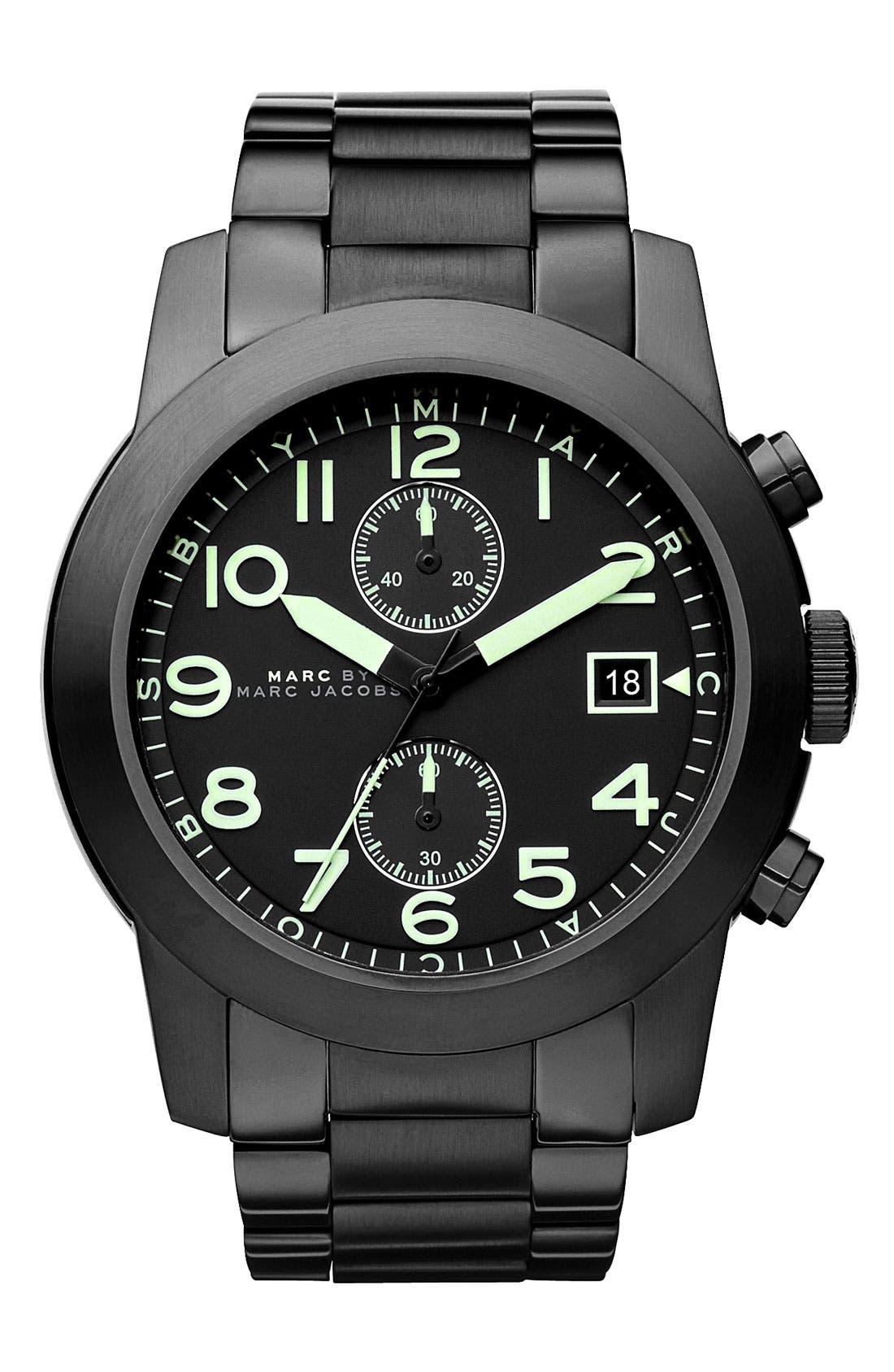 Main Image - MARC BY MARC JACOBS 'Larry' Chronograph Bracelet Watch, 46mm