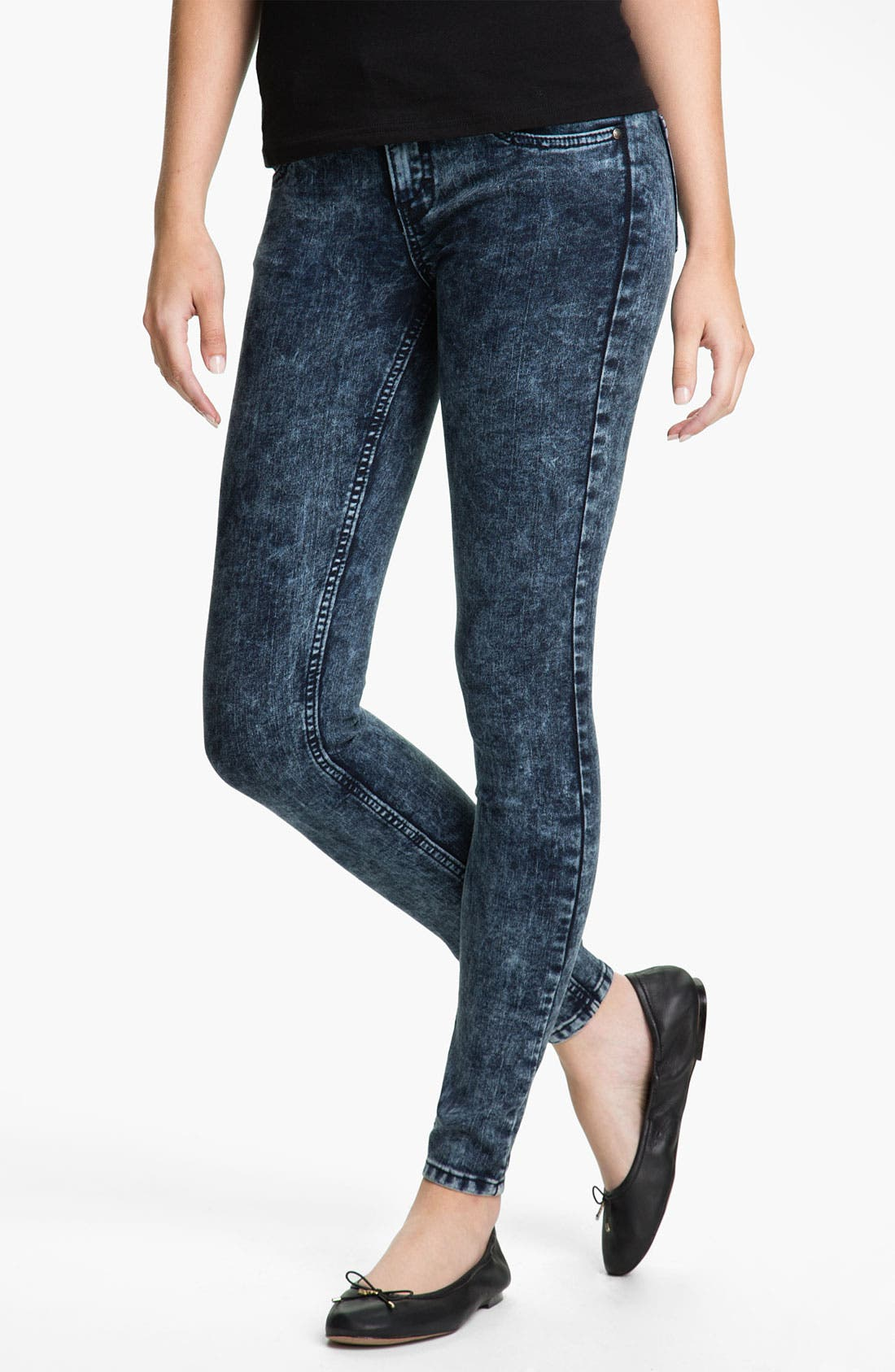 Alternate Image 2  - See Thru Soul Acid Wash Skinny Jeans (Juniors)
