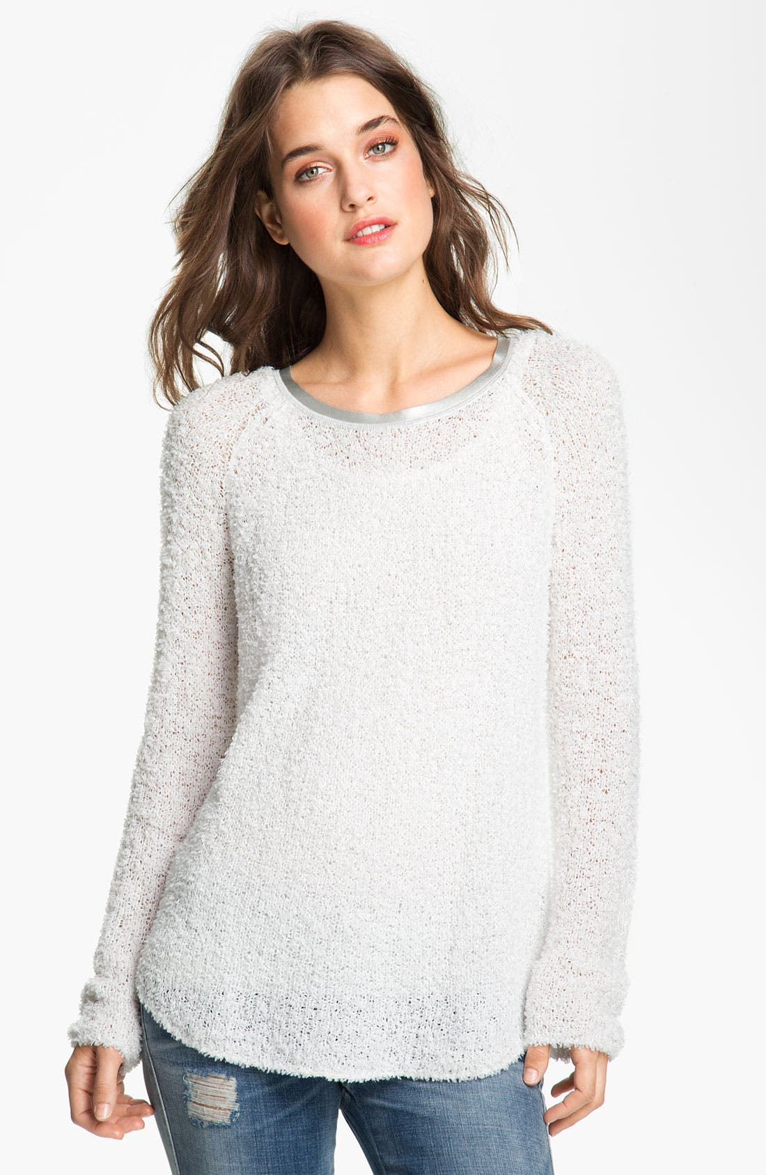 Alternate Image 1 Selected - Hinge® Sweater with Faux-Leather Trim