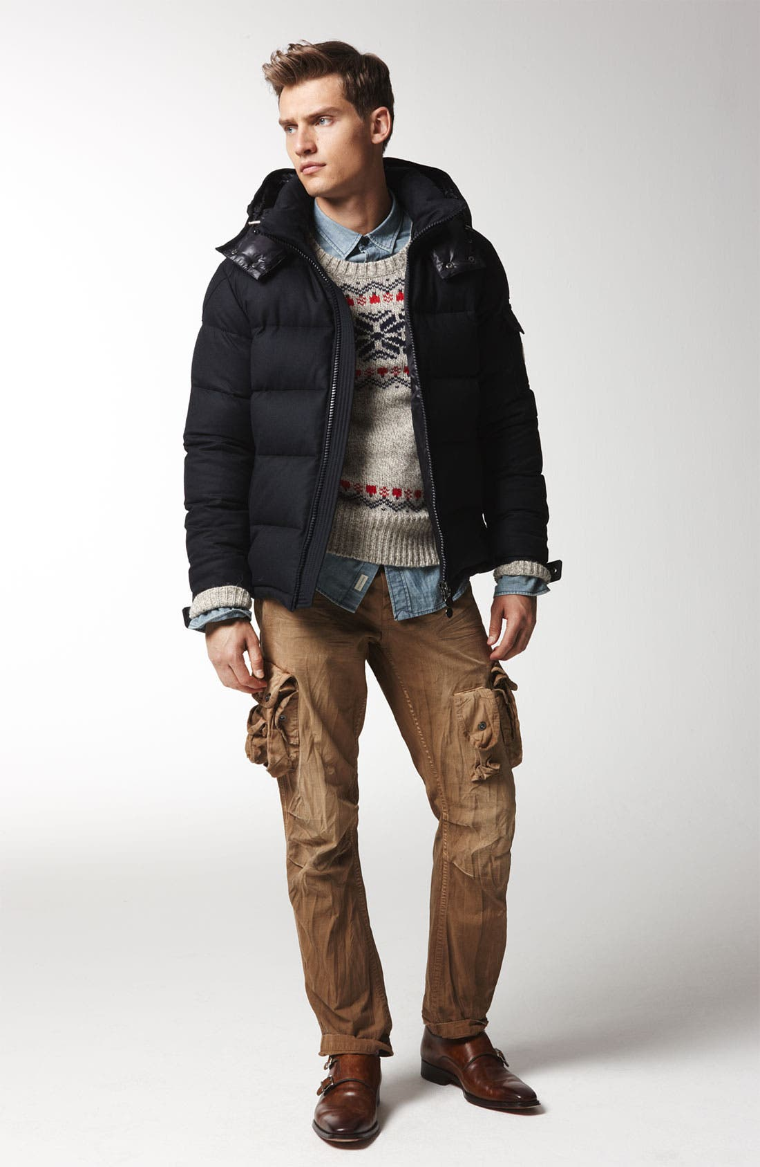 Main Image - Moncler Down Coat, Gant Rugger Sweater & PRPS Cargo Pants