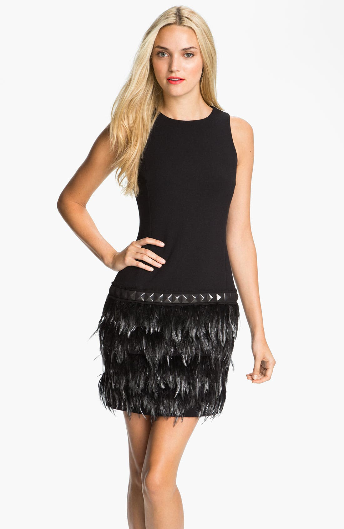 Alternate Image 1 Selected - MICHAEL Michael Kors Feather Trim Dress