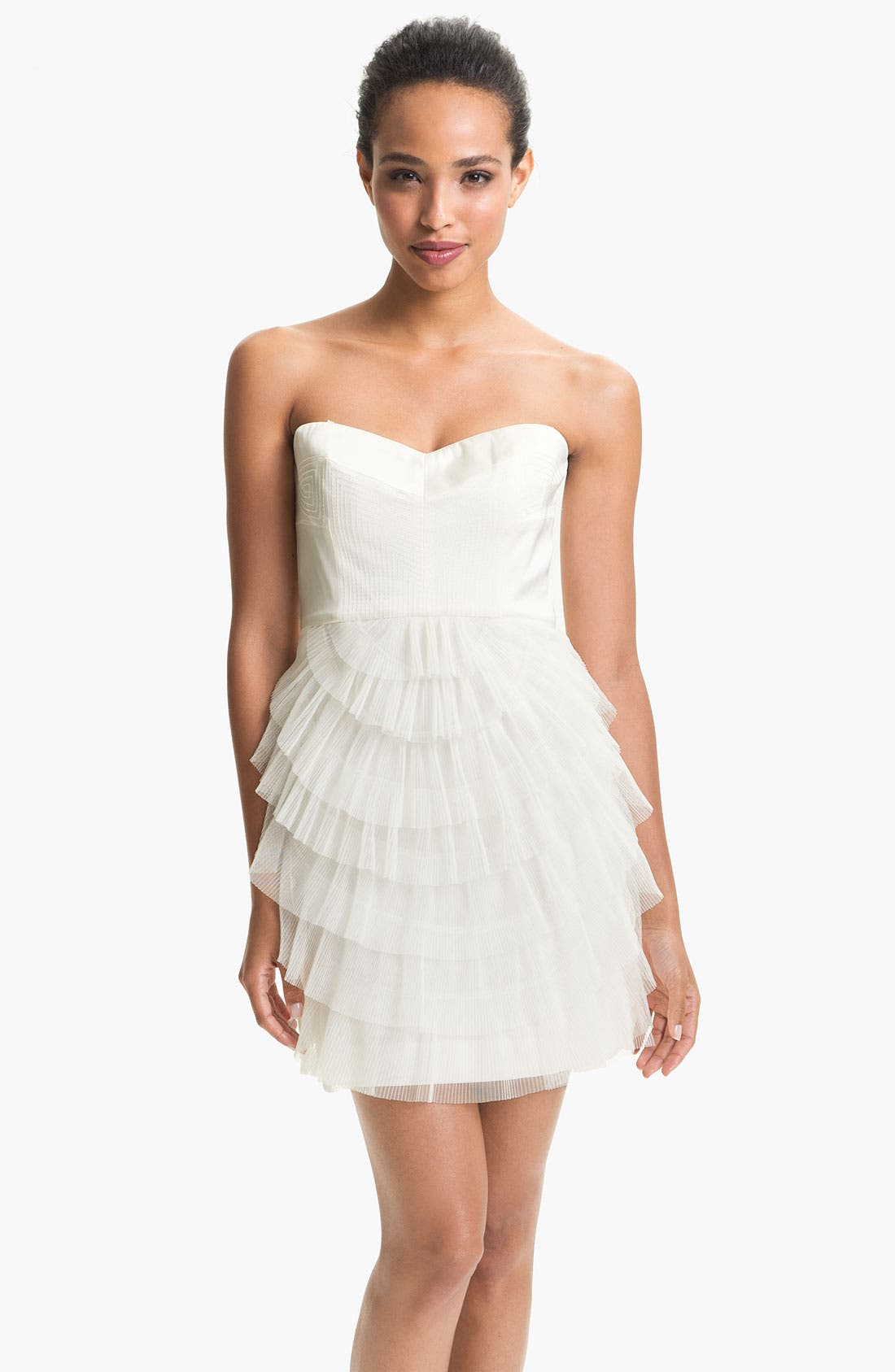 Main Image - BCBGMAXAZRIA Strapless Mesh Tier Satin Dress