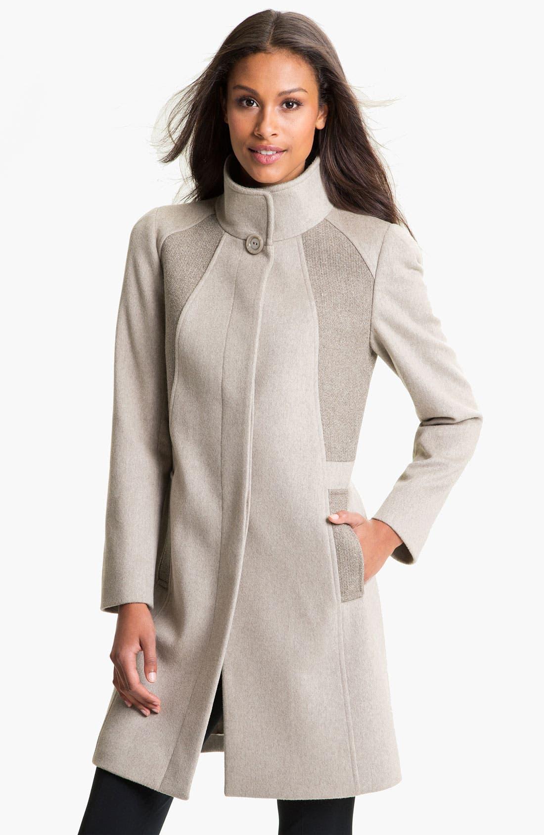 Main Image - Cinzia Rocca Mix Texture Wool Coat