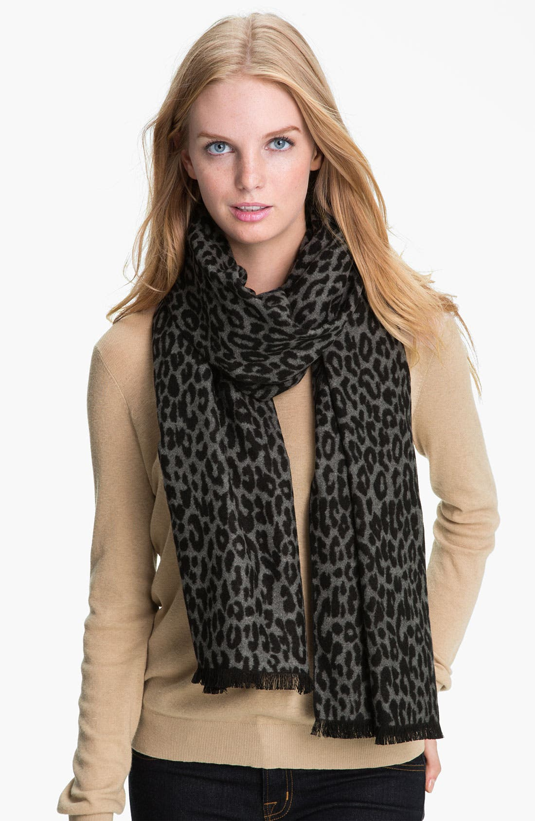 Leopard Print Woven Silk Wrap,                             Main thumbnail 1, color,                             Grey Black
