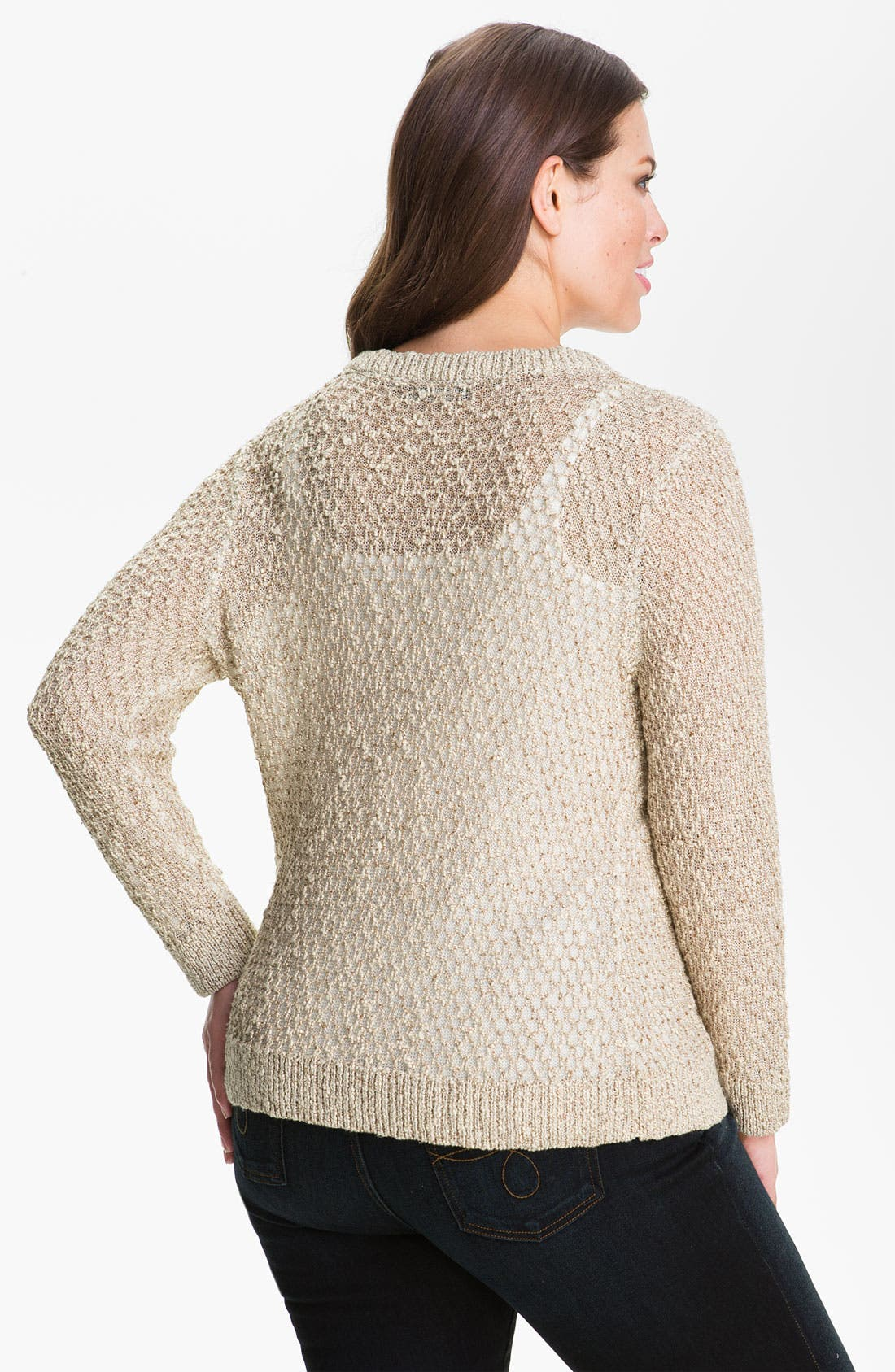 Nic + Zoe 'Shimmer' Cardigan,                             Alternate thumbnail 2, color,                             Champagne