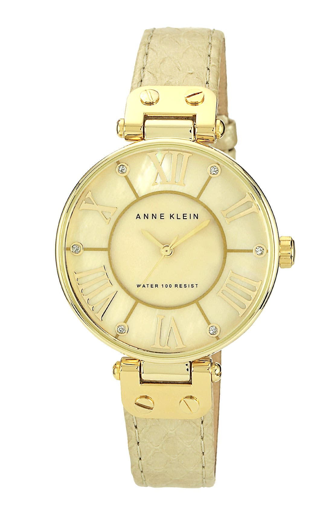 Alternate Image 1 Selected - Anne Klein Round Leather Strap Watch
