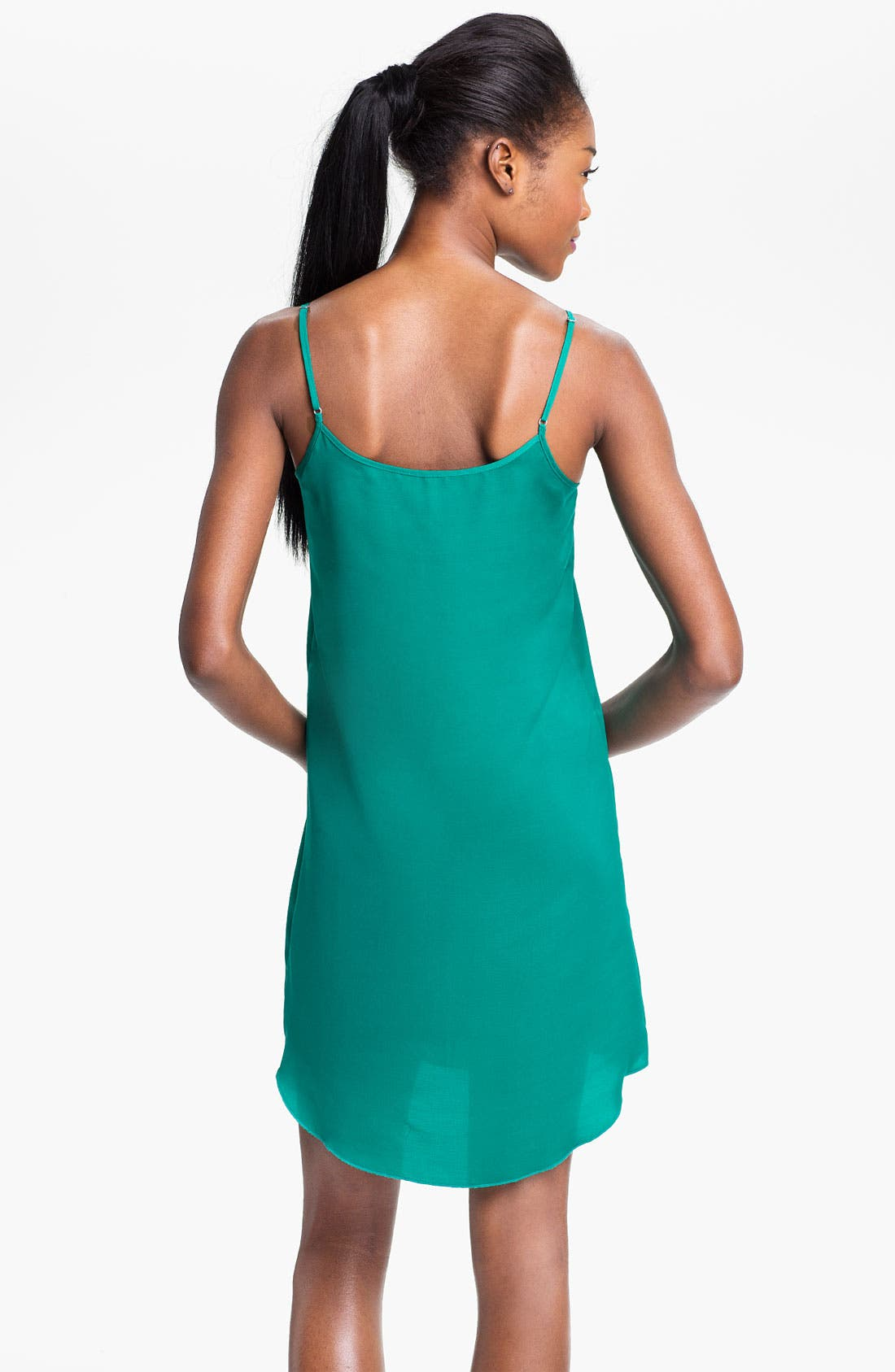 Alternate Image 2  - Frenchi® Satin Slip Dress (Juniors)