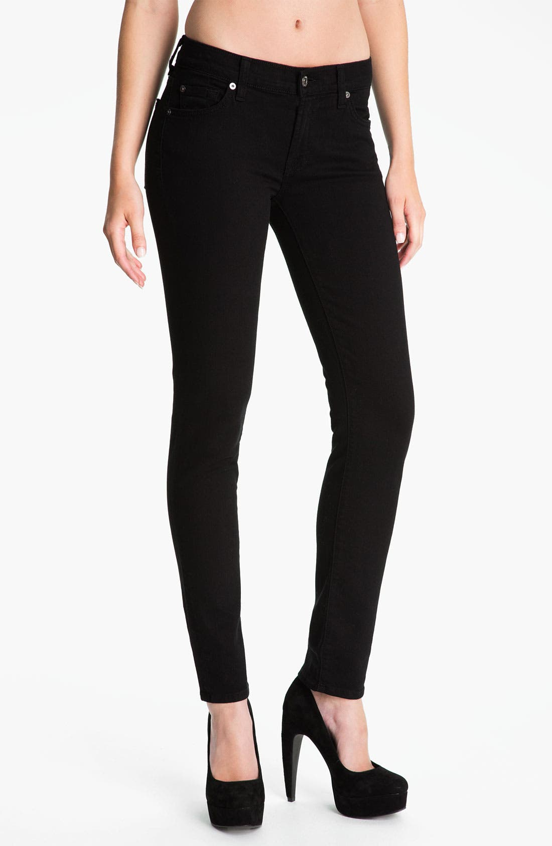 Main Image - 7 For All Mankind® 'The Slim Cigarette' Stretch Jeans (Black)