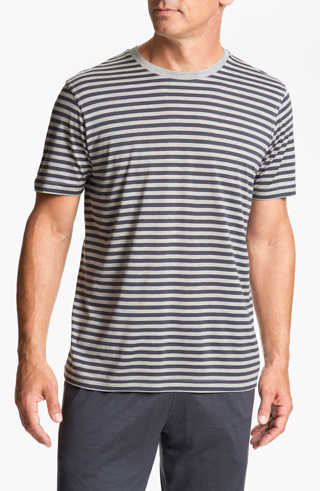 Alternate Image 1 Selected - Daniel Buchler Silk Blend Heathered Stripe T-Shirt