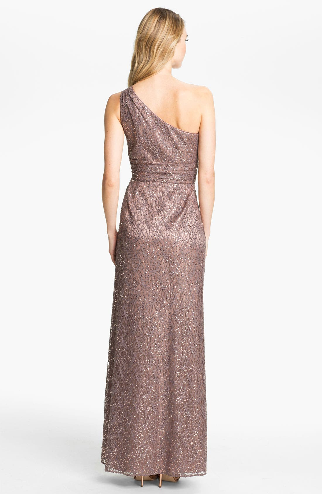 Alternate Image 2  - Hailey by Adrianna Papell One Shoulder Sequin Lace Gown
