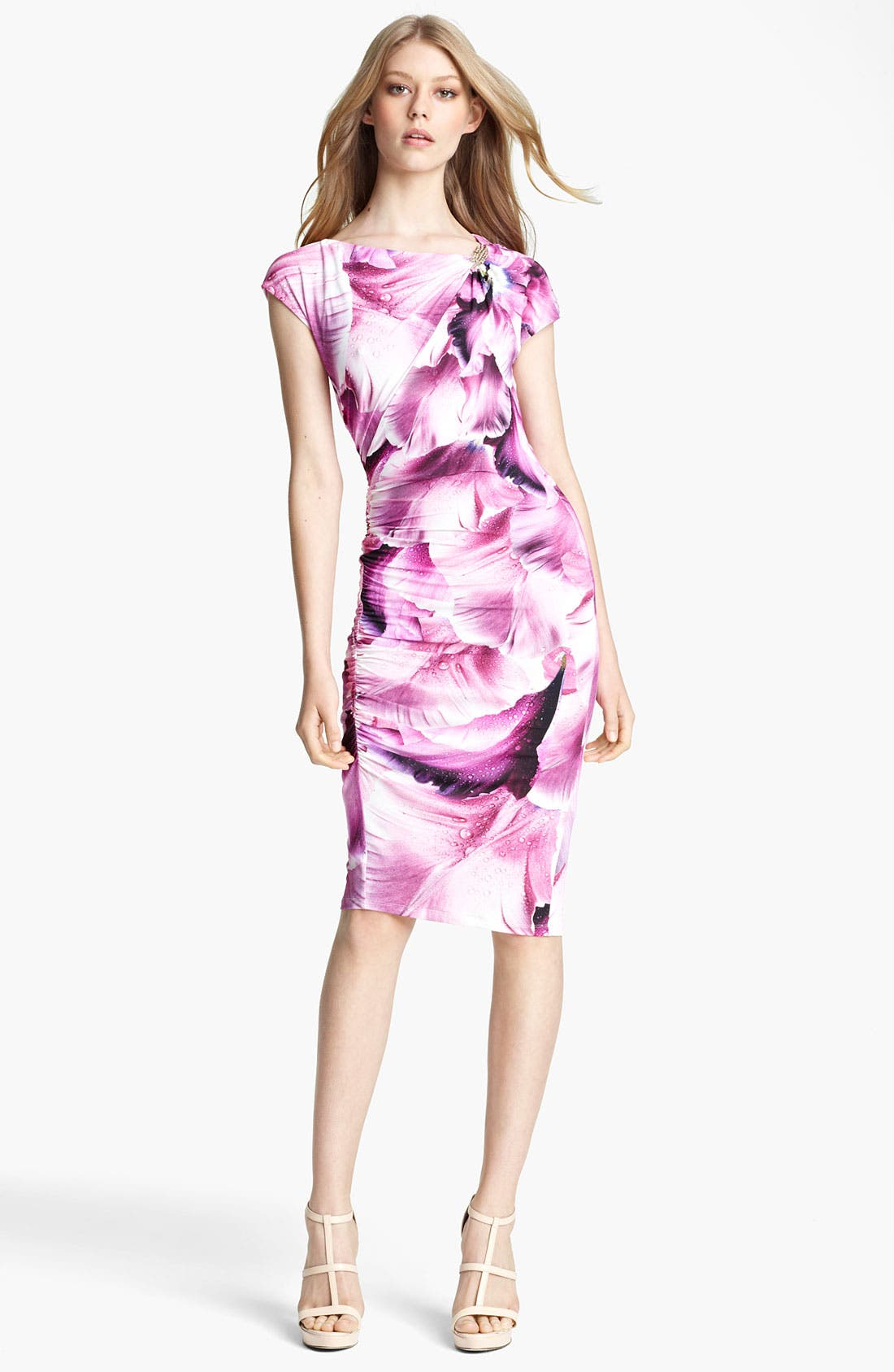 Main Image - Roberto Cavalli Flower Print Ruched Jersey Dress