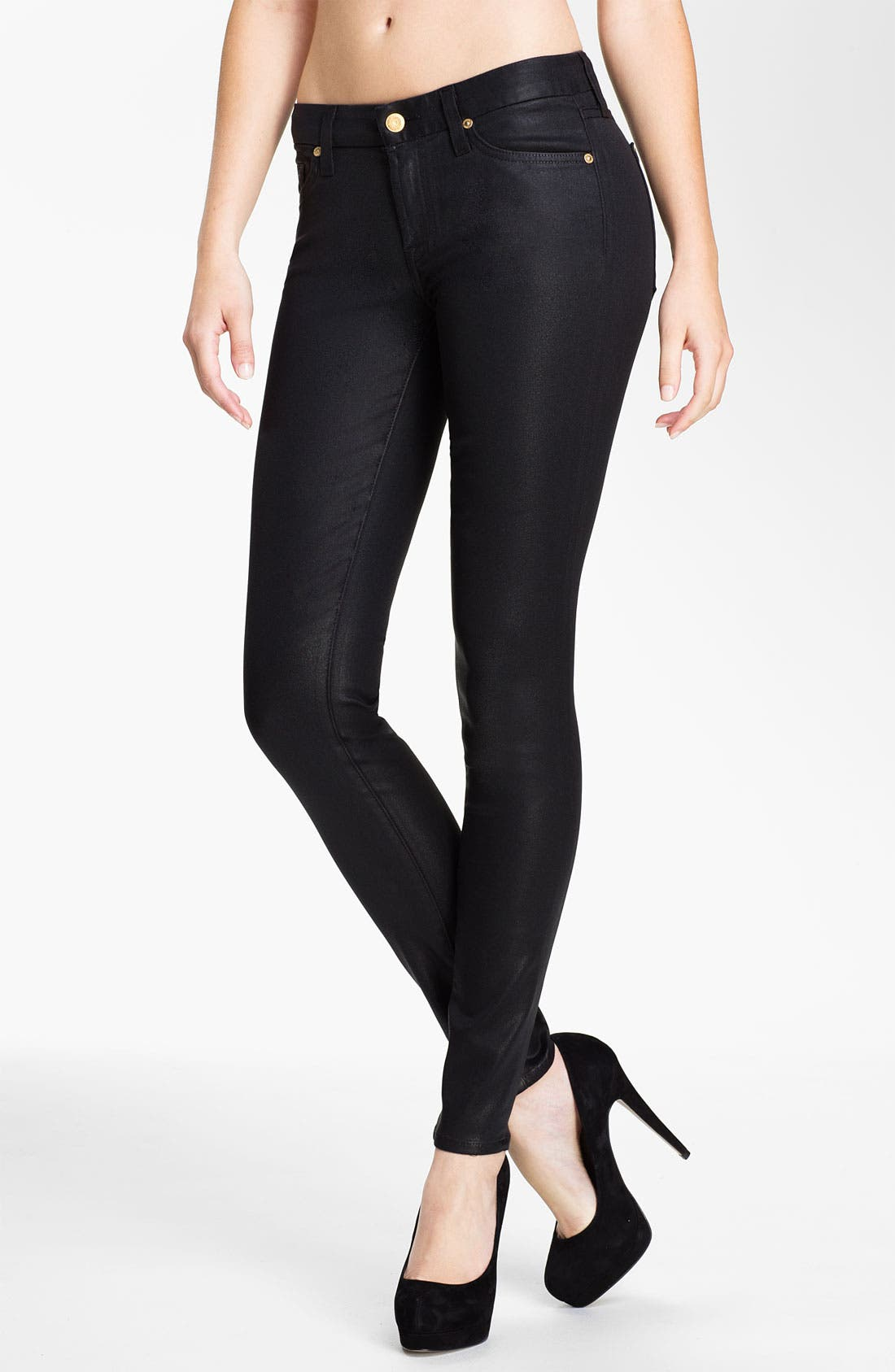 Main Image - 7 For All Mankind® Coated Skinny Stretch Jeans (Black)