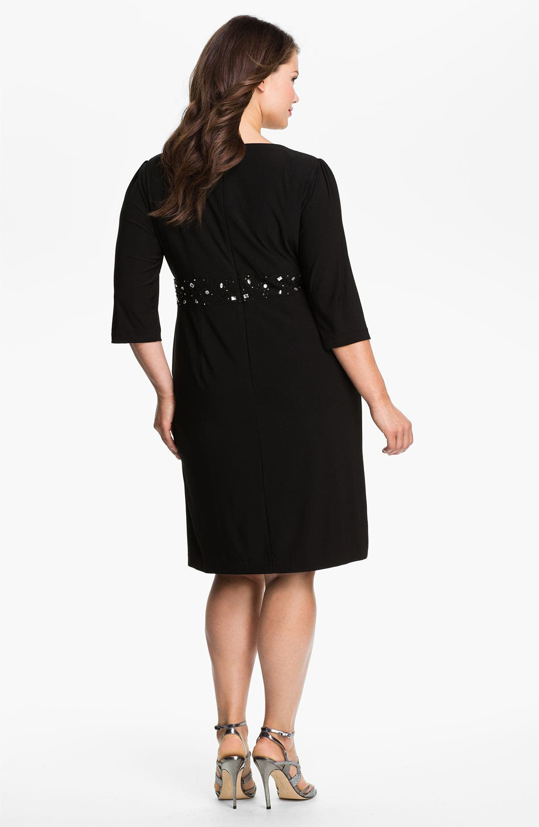 Alternate Image 2  - Alex Evenings Beaded Surplice Dress (Plus Size)