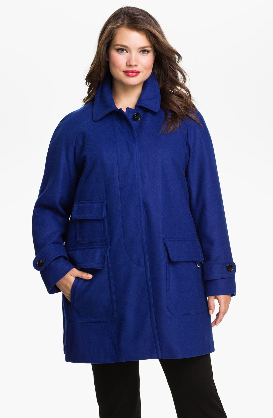 Alternate Image 1 Selected - Ellen Tracy Fly Front Stadium Coat (Plus) (Nordstrom Exclusive)