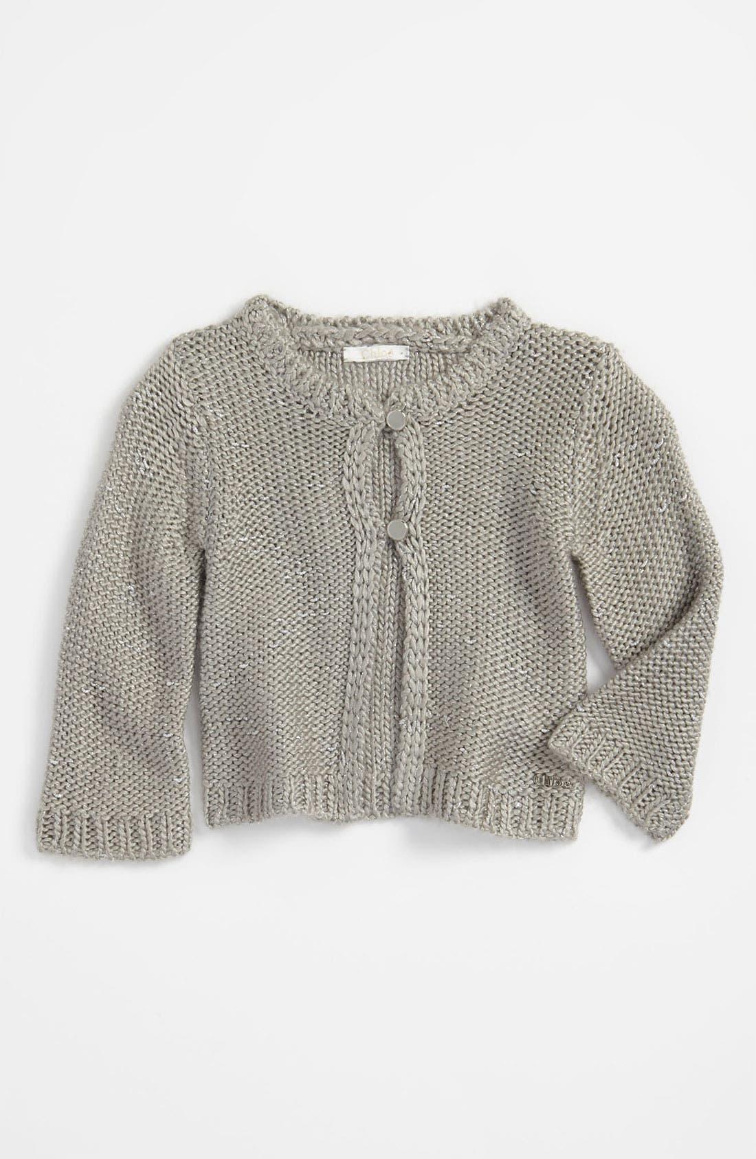 Main Image - Chloé Metallic Knit Cardigan (Infant)