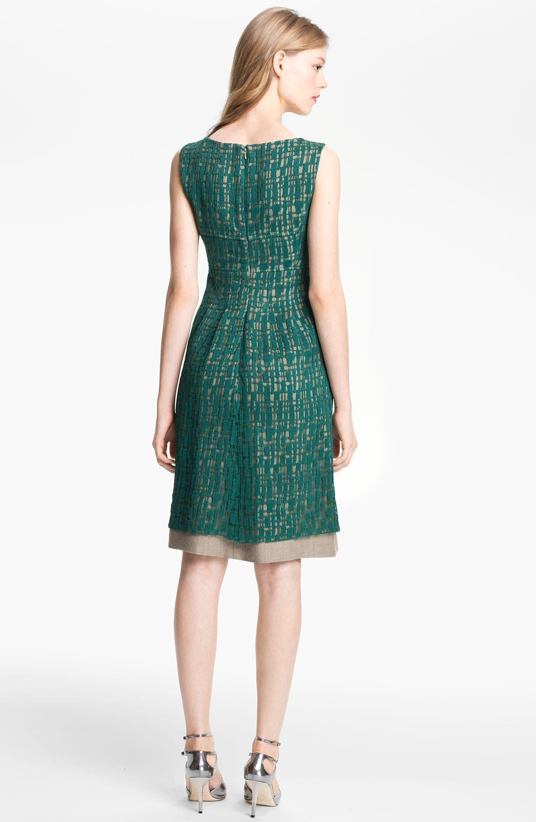 Alternate Image 2  - Lela Rose Lace Overlay Sheath Dress