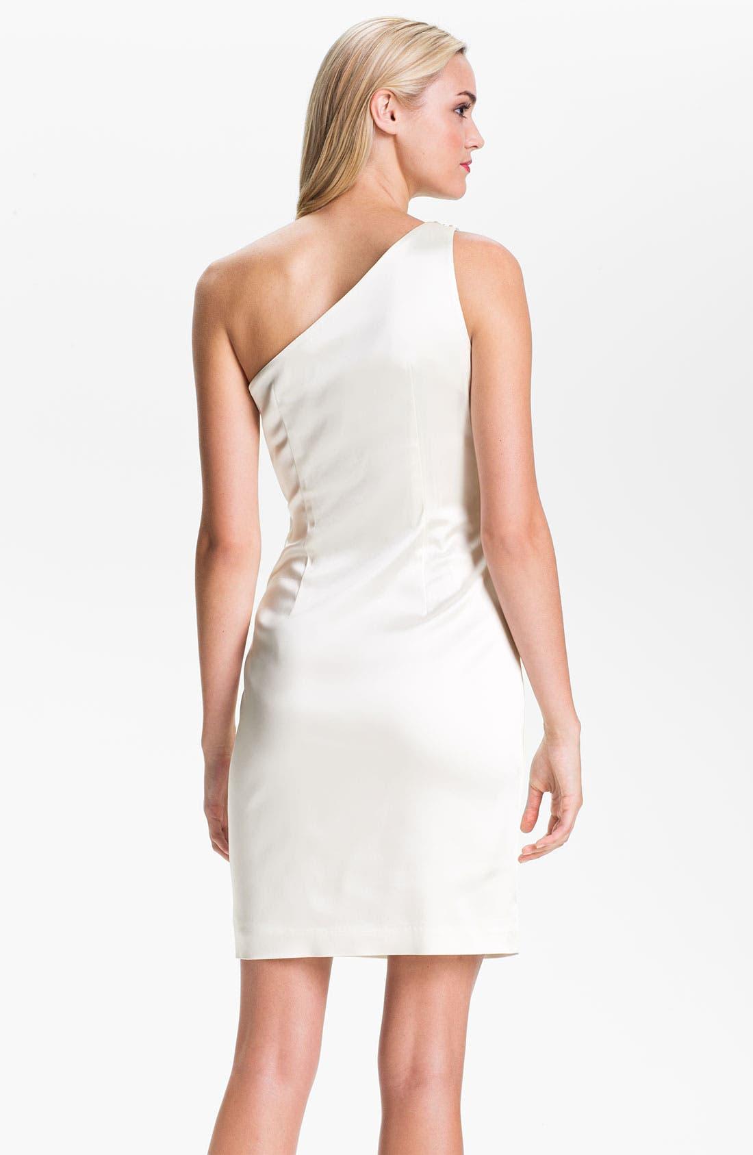 Alternate Image 2  - Calvin Klein One Shoulder Satin Sheath Dress