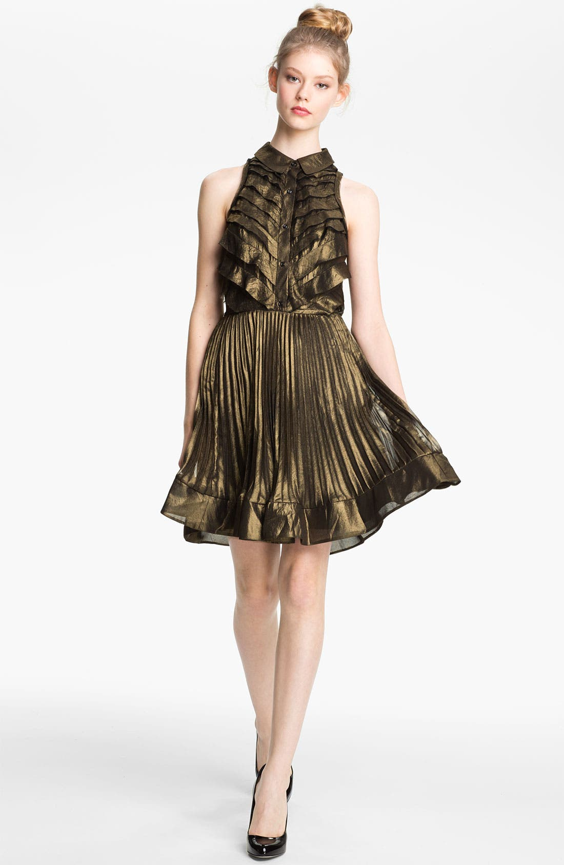 Main Image - Mcginn 'Nalia' Pleated Metallic Dress