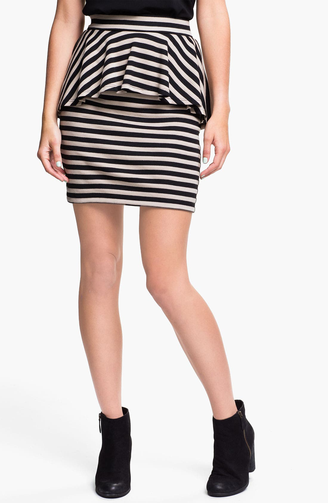 Alternate Image 1 Selected - h.i.p. Stripe Peplum Skirt (Juniors)