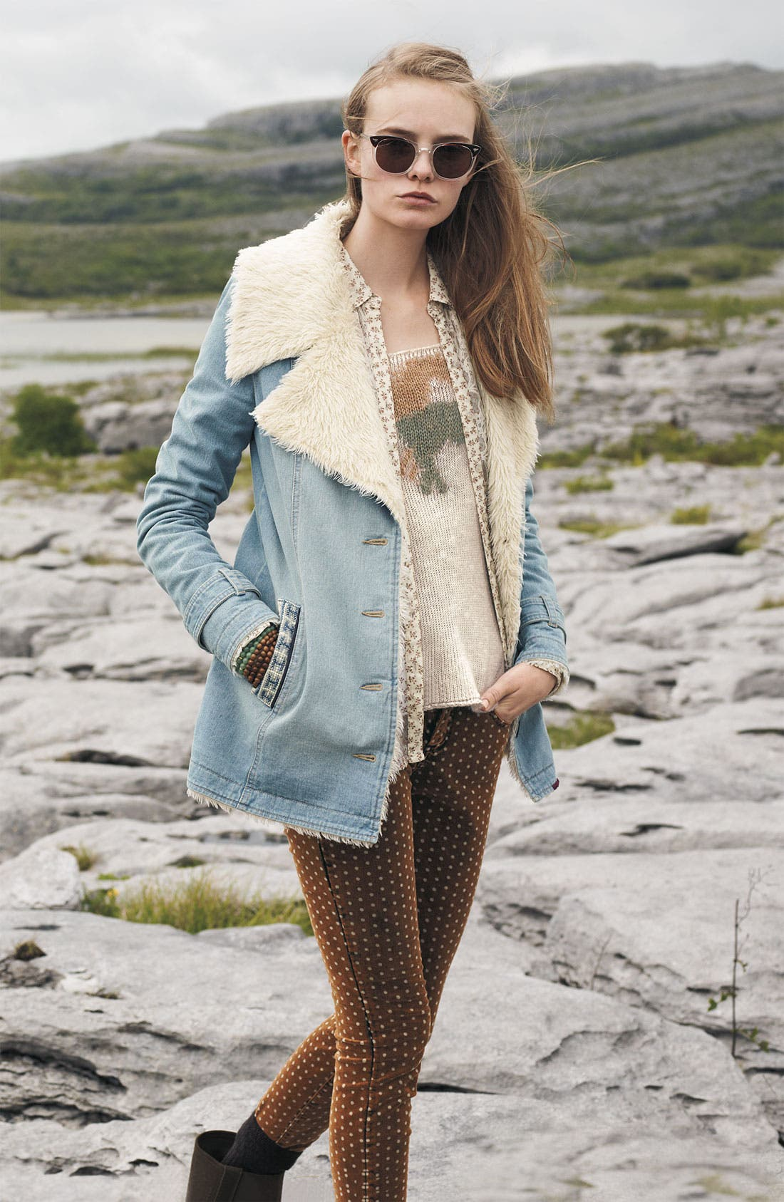 Alternate Image 4  - Free People Faux Shearling Lined Denim Coat