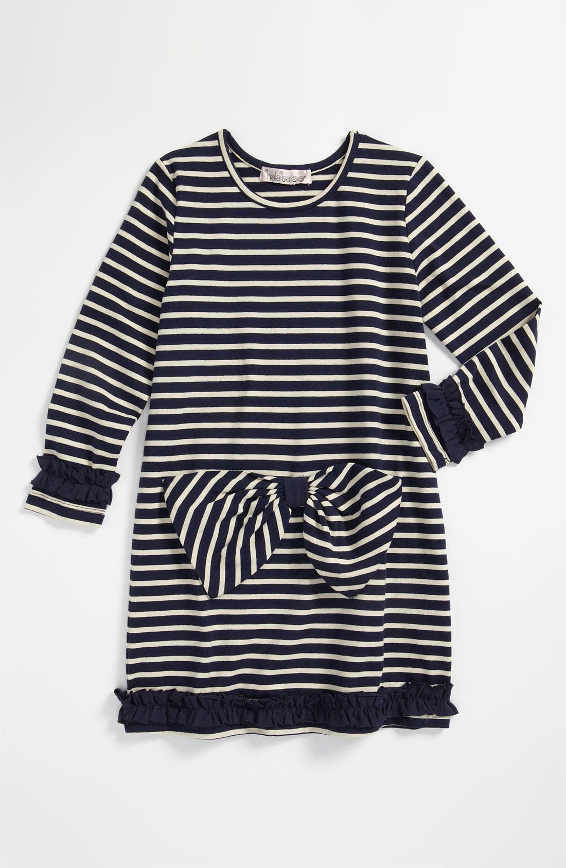 Main Image - Halabaloo Stripe Bow Dress (Little Girls & Big Girls)