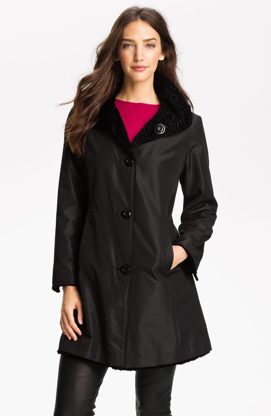 Main Image - Ellen Tracy Reversible Faux Persian Lamb Fur Coat (Regular & Petite) (Nordstrom Exclusive)